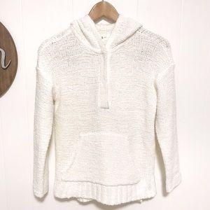 Lou & grey white fluffy knit hoodie sweater XS